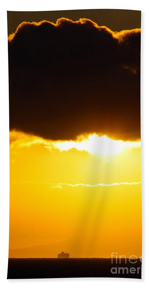 Boat Hand Towel featuring the photograph Sunset And Cloud At Sea by Simon Bratt Photography LRPS