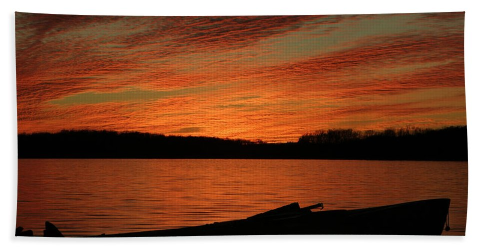 Sunset Bath Sheet featuring the photograph Sunset And Kayak by Daniel Reed