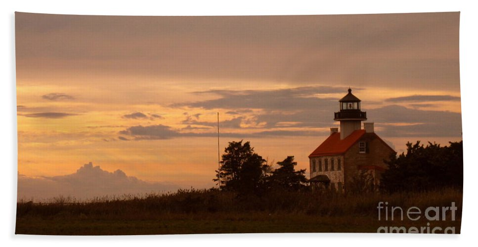 East Point Lighthouse Bath Sheet featuring the photograph Sunset At East Point Light by Nancy Patterson