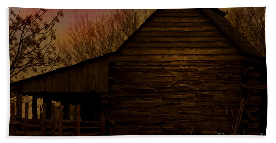 Barn Bath Sheet featuring the mixed media Sunset At The Barn by Kim Henderson