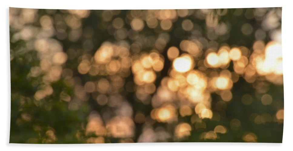 Light Hand Towel featuring the photograph Sunset Bokeh by Debbie Portwood