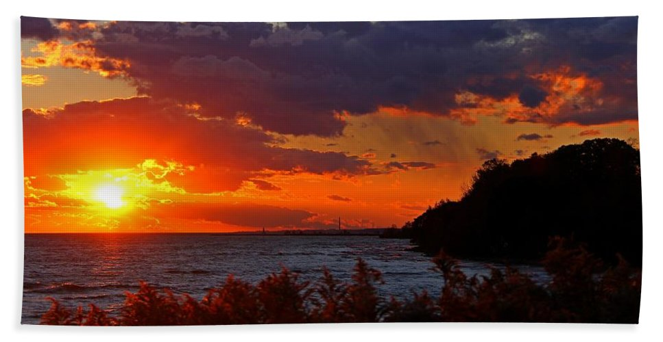 Sunset Bath Sheet featuring the photograph Sunset By The Beach by Davandra Cribbie