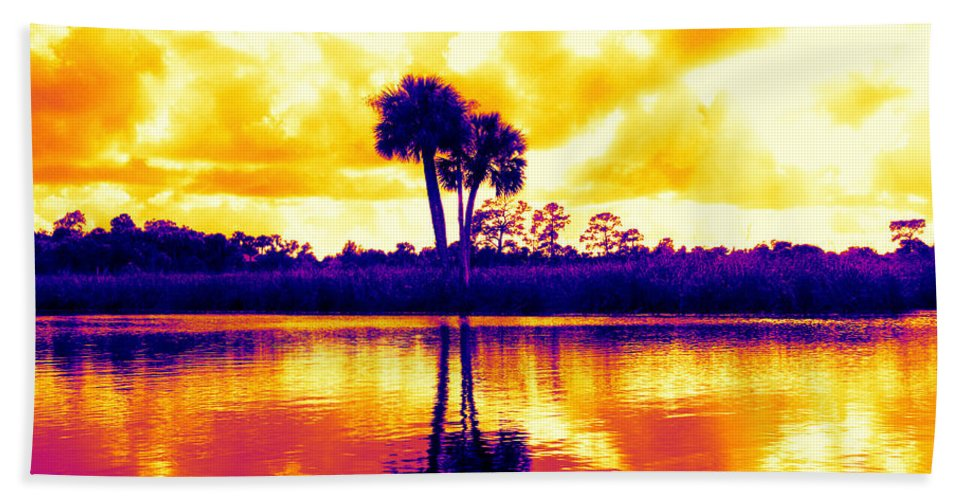 Palms Colorful Sunset Water Scenic Hand Towel featuring the photograph Sunset Colour by Alice Gipson