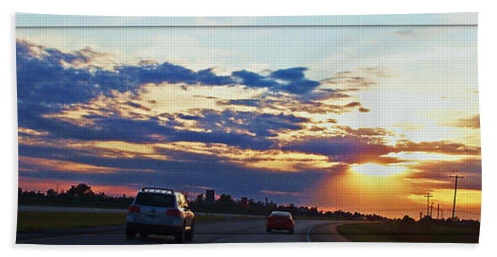 Landscape Bath Sheet featuring the photograph Sunset Drive by Debbie Portwood