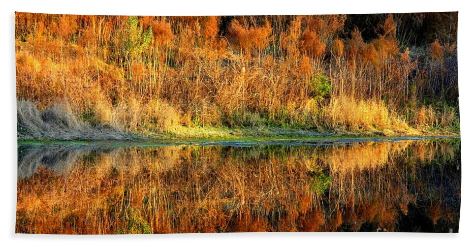 Pond Bath Sheet featuring the photograph Sunset Glow On The Pond by Carol Groenen