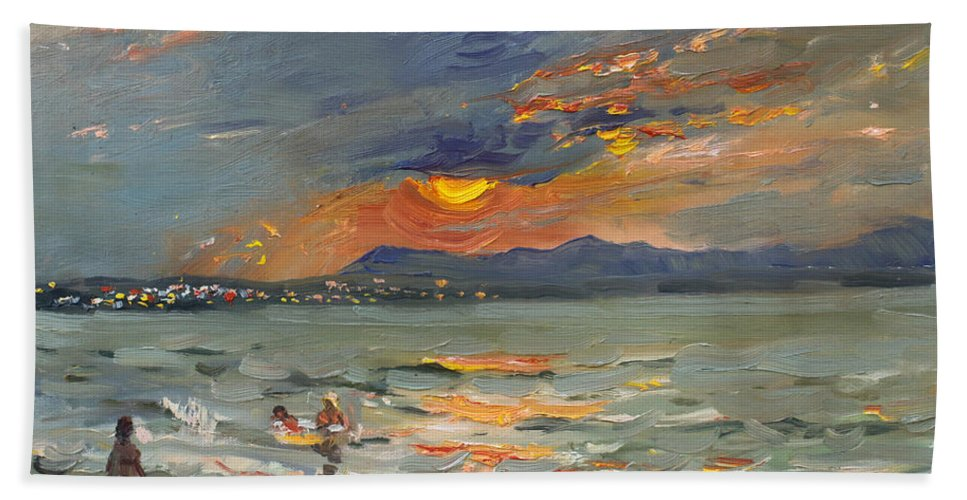 Seascape Hand Towel featuring the painting Sunset In Aegean Sea by Ylli Haruni