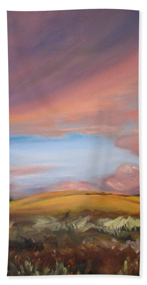 Hawaii Bath Sheet featuring the painting Sunset In Hawaii by Donna Tuten