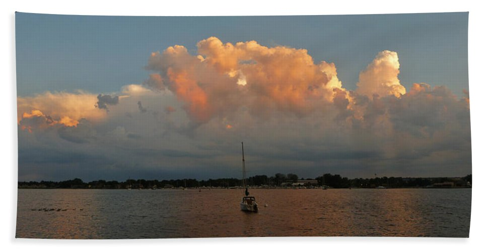 Sunset Bath Sheet featuring the photograph Sunset Mooring by Tim Nyberg