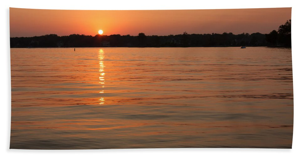 Evening Bath Sheet featuring the photograph Sunset On Geist Reservoir In Lawrence In by Semmick Photo