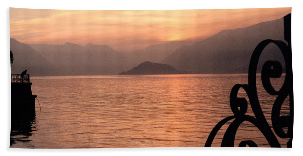 Sunset Bath Sheet featuring the photograph Sunset On Lake Como by Greg Matchick