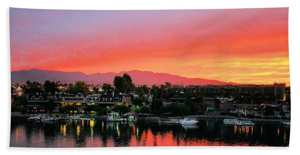 Lake Havasu Bath Sheet featuring the photograph Sunset On Lake Havasu by Kristin Elmquist