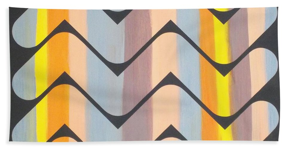 Abstract Bath Sheet featuring the painting Sunset On Maggie's Lake by James Hamilton
