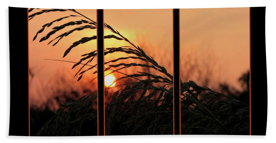 Sunset On Beach Hand Towel featuring the photograph Sunset On The Beach by Carolyn Marshall