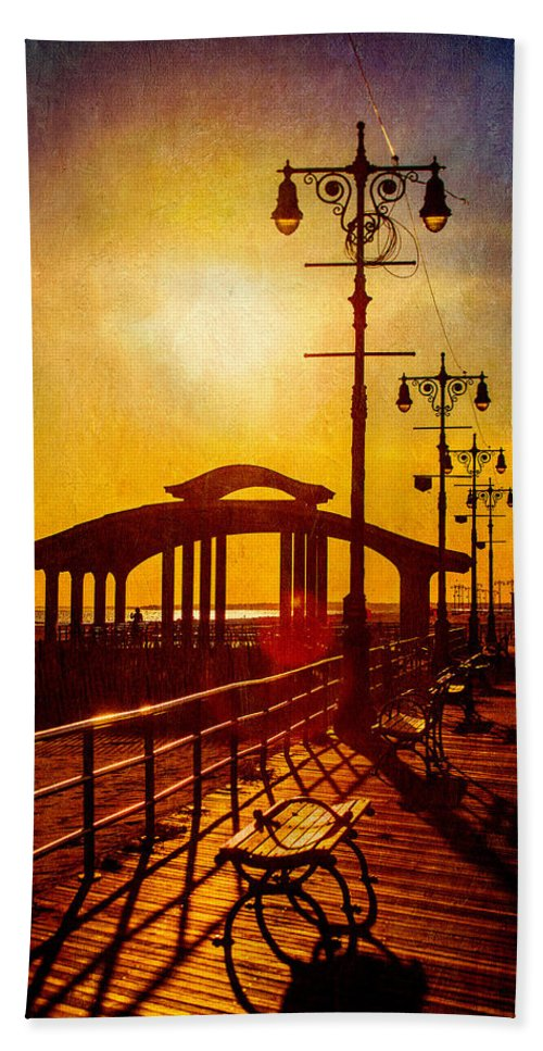 Boardwalk Hand Towel featuring the photograph Sunset On The Boardwalk by Chris Lord
