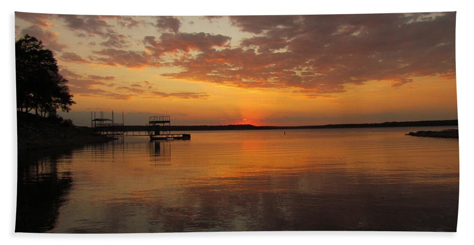 Sun Set Hand Towel featuring the photograph Sunset On The Lake by Elizabeth Harshman