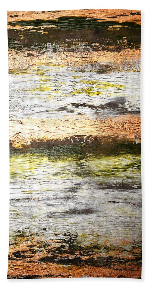 Gold Bath Sheet featuring the painting Sunset On The River by Julie Niemela
