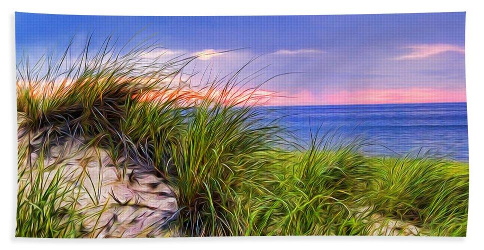 Sand Bath Sheet featuring the painting Sunset On Wellfleet Dunes by Tammy Wetzel