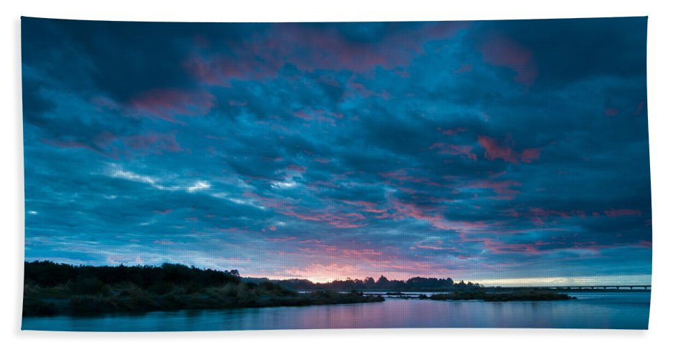 Background Bath Sheet featuring the photograph Sunset Over A River by U Schade