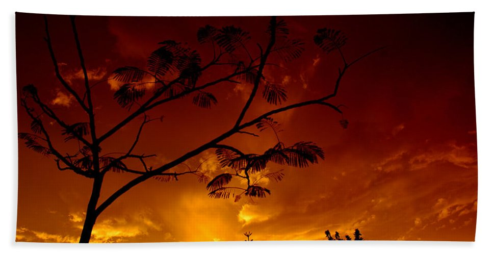Sun Hand Towel featuring the photograph Sunset Over Florida by David Weeks