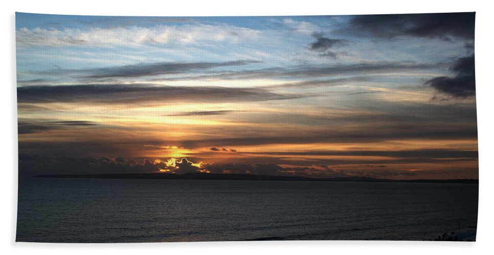 Sunset Bath Sheet featuring the photograph Sunset Over Poole Bay by Chris Day