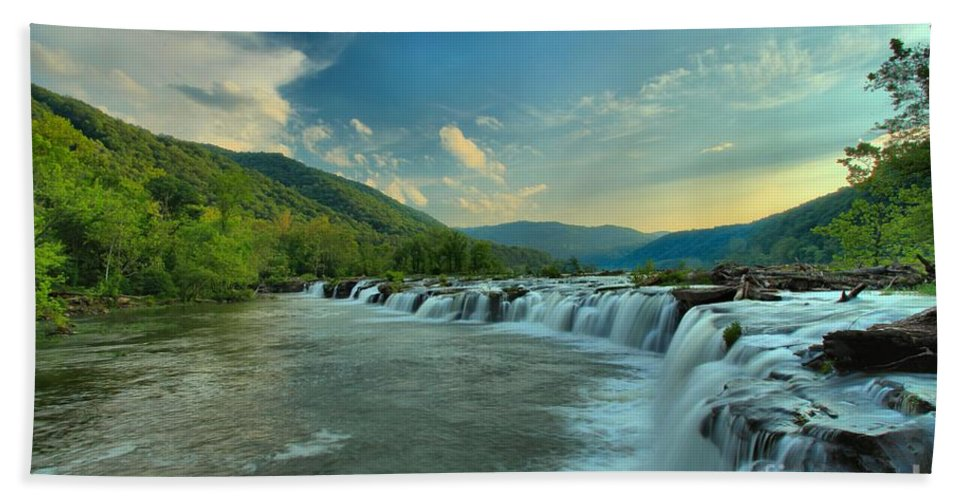Sandstone Falls Bath Sheet featuring the photograph Sunset Over Sandstone by Adam Jewell