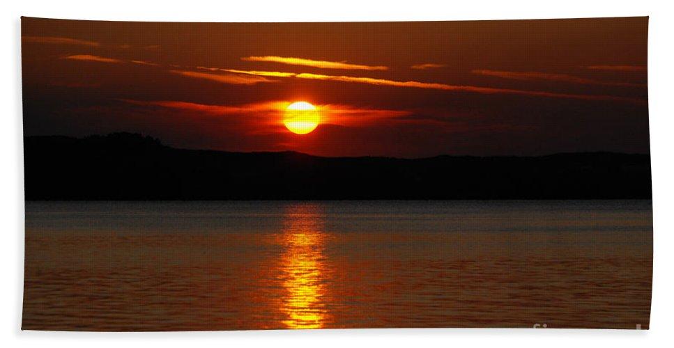 Silver Lake Sand Dunes Bath Sheet featuring the photograph Sunset Over Silver Lake Sand Dunes by Grace Grogan