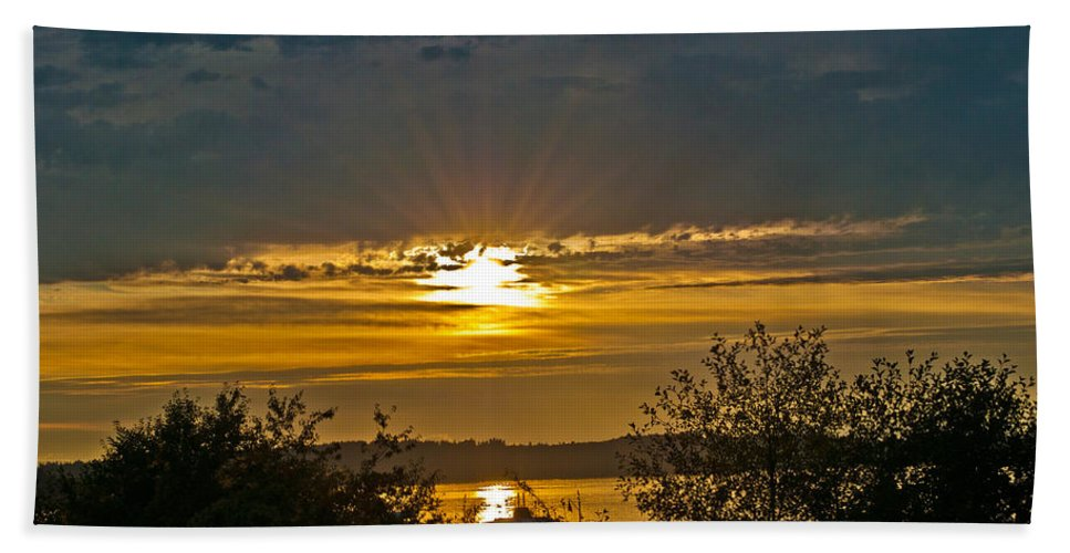 Sunset Hand Towel featuring the photograph Sunset Over Steilacoom Bay by Tikvah's Hope