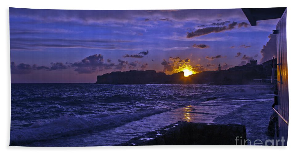 Dubrovnik Bath Sheet featuring the photograph Sunset Over The Adriatic by Madeline Ellis