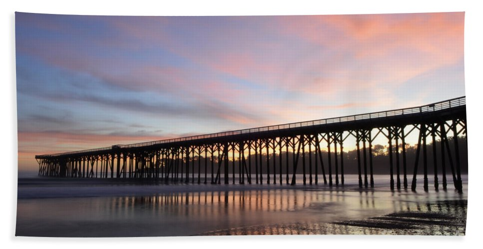 San Simeon Hand Towel featuring the photograph Sunset Pier San Simeon California 1 by Bob Christopher