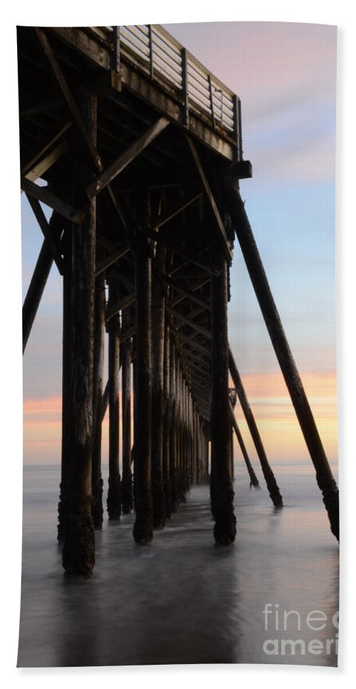 San Simeon Hand Towel featuring the photograph Sunset Pier California 3 by Bob Christopher