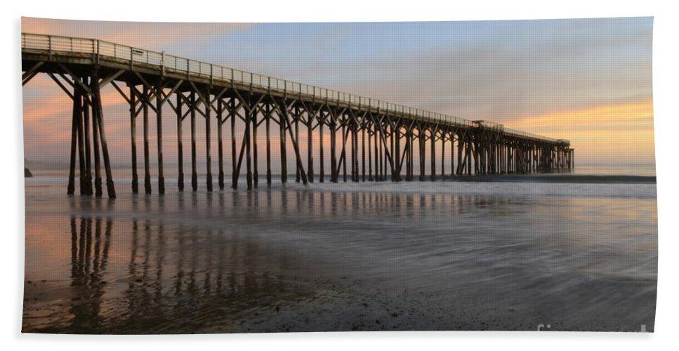 San Simeon Bath Sheet featuring the photograph Sunset Pier California 5 by Bob Christopher