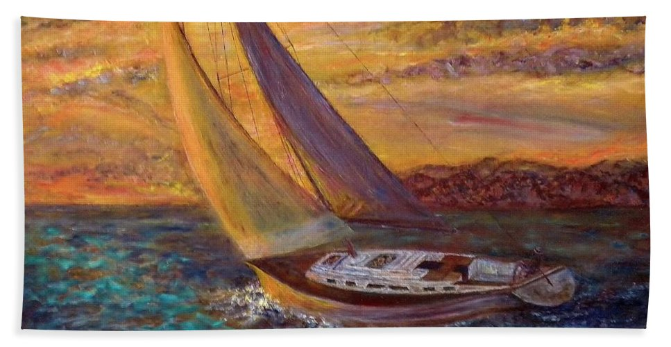 Landscape Bath Sheet featuring the painting Sunset Sail by Pamela Stroberg