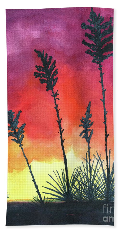 Agave Bath Sheet featuring the painting Sunset Silhouette by Eric Samuelson