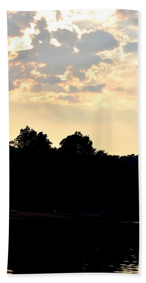 Sunset Hand Towel featuring the photograph Sunset Silhouettes Over Star Lake by Maria Urso