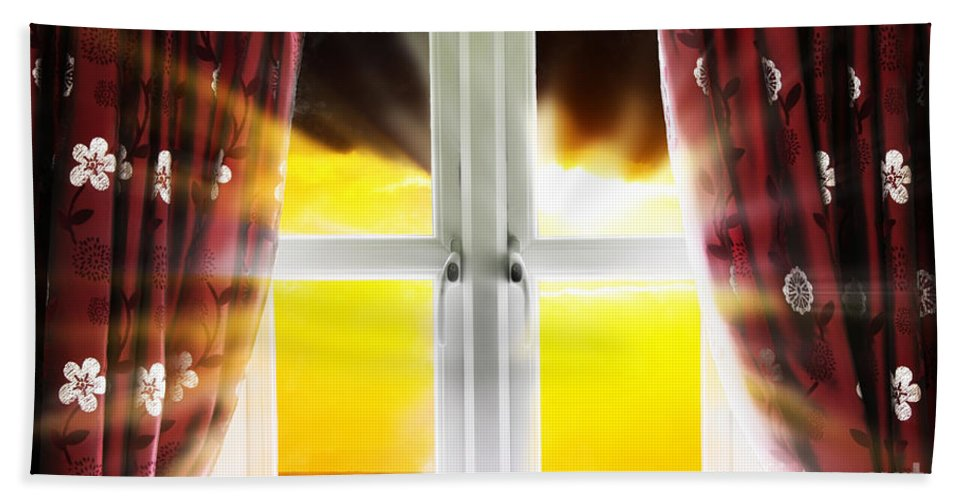 Window Hand Towel featuring the photograph Sunset Through Window by Simon Bratt Photography LRPS