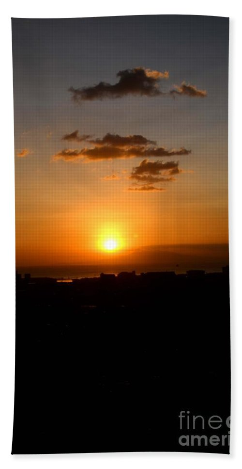 Sun Bath Sheet featuring the photograph Sunset Upon The Ocean Number Three by Christopher Shellhammer