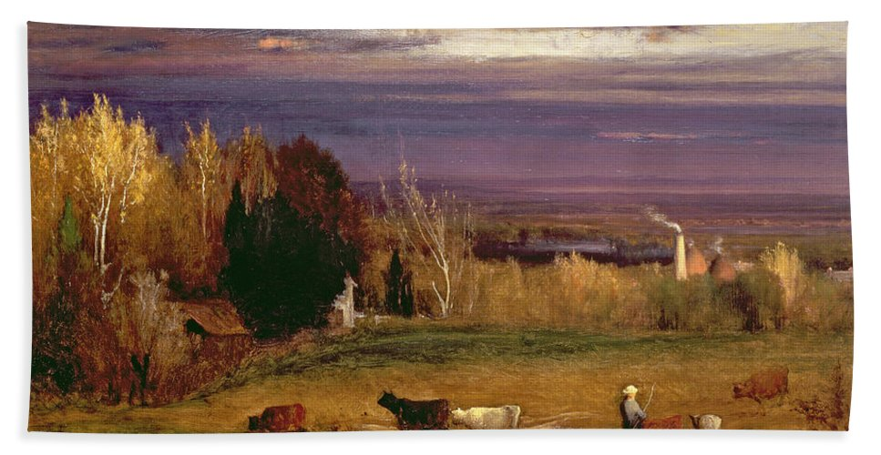 Sunshine After Storm Or Sunset Bath Sheet featuring the painting Sunshine After Storm Or Sunset by George Snr Inness