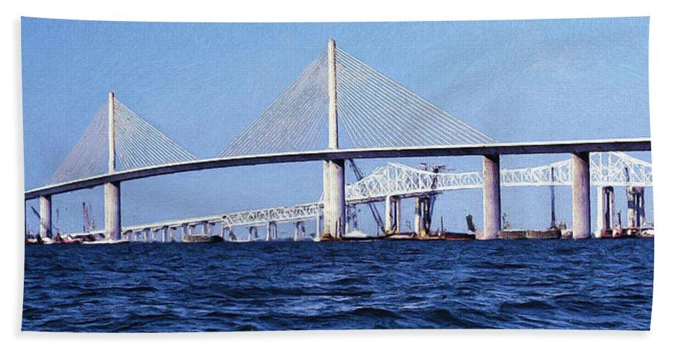 Sunshine Skyway Hand Towel featuring the mixed media Sunshine Skyway Bridge II by Richard Rizzo