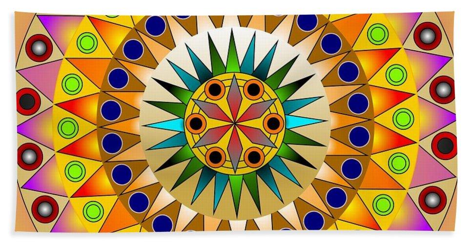 Mandala Bath Sheet featuring the digital art Sunshine Sunflower by Mario Carini