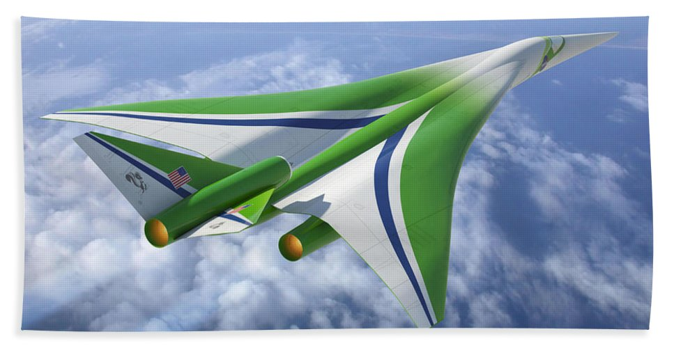 Science Hand Towel featuring the photograph Supersonic Aircraft Design by NASA/Science Source