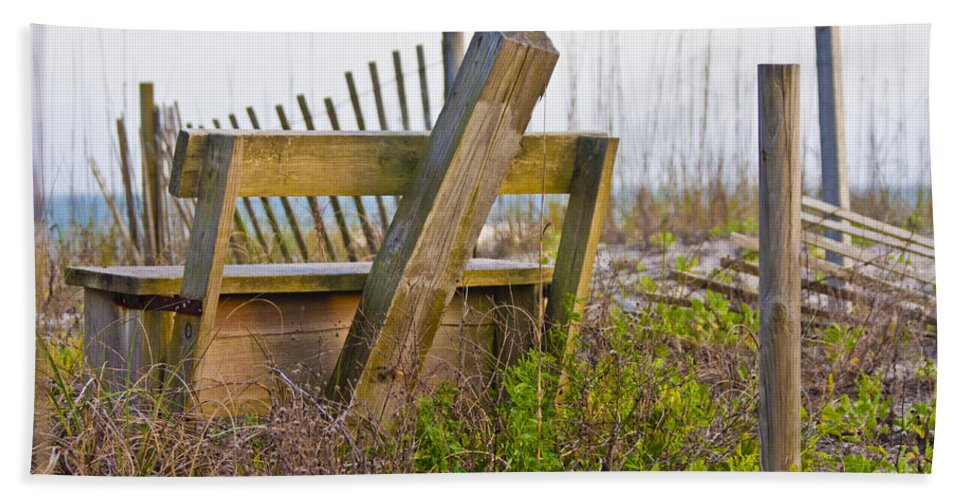 Topsail Bath Sheet featuring the photograph Surf City Chair by Betsy Knapp