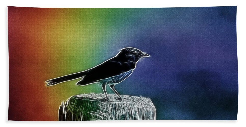 Willy Wagtail Bath Sheet featuring the photograph Surrounded By Color by Douglas Barnard