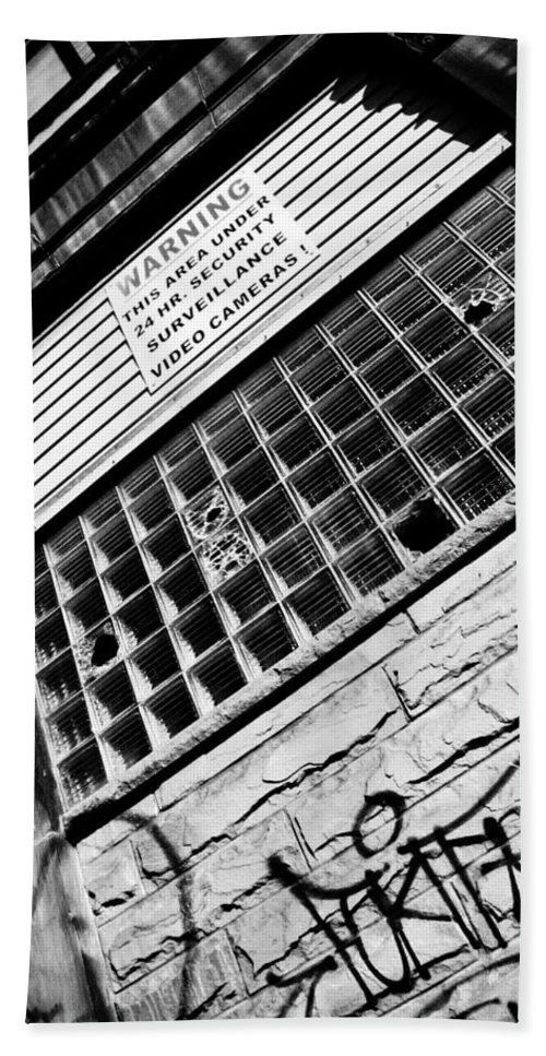 Urban Bath Sheet featuring the photograph Surveilance by Jessica Brawley