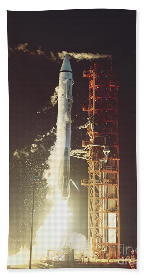 Transport Hand Towel featuring the photograph Surveyor 3 Launch by Science Source