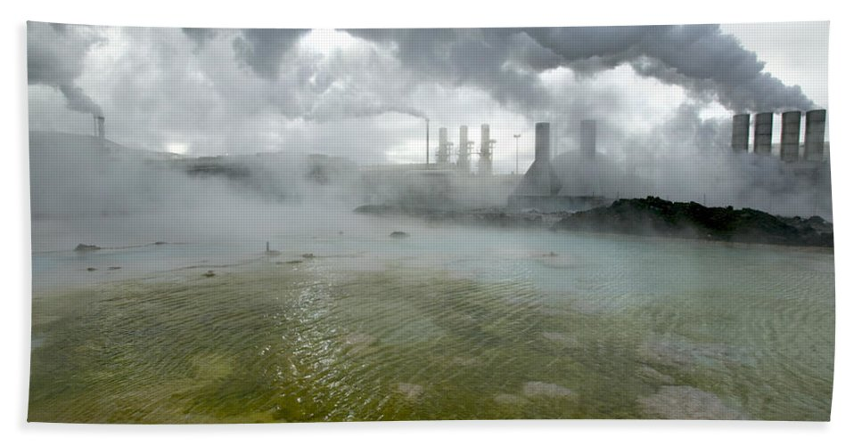 Mp Hand Towel featuring the photograph Svartsengi Geothermal Power Plant by Cyril Ruoso