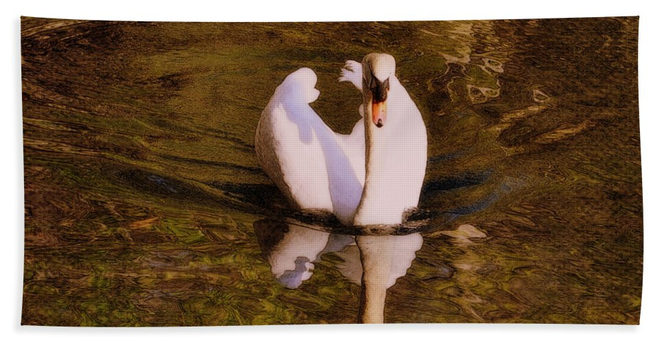 Swan Hand Towel featuring the photograph Swan At Susan Lake by Lydia Holly