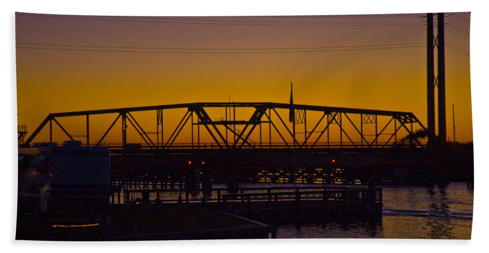 Topsail Bath Sheet featuring the photograph Swing Bridge Sunset by Betsy Knapp