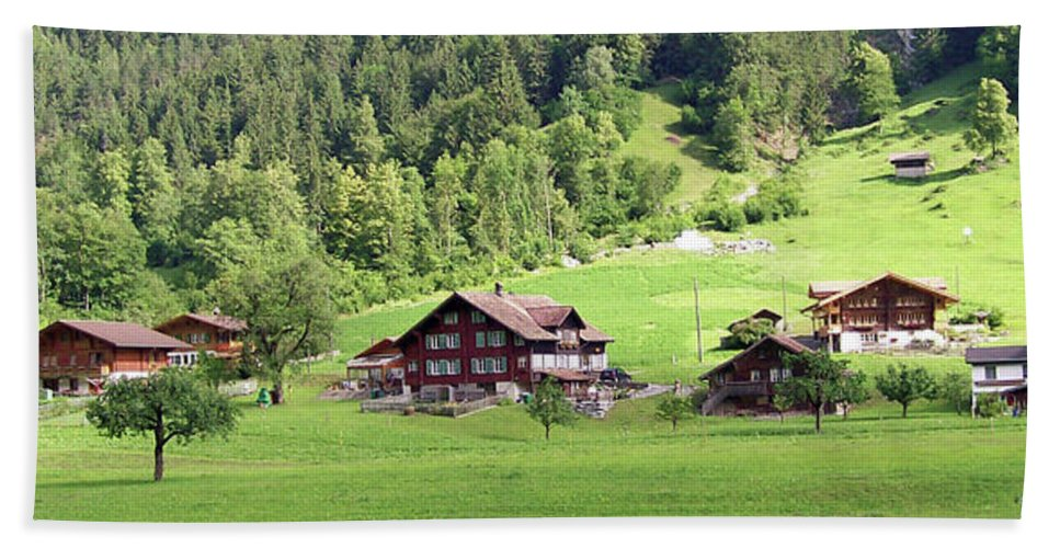Europe Hand Towel featuring the photograph Swiss Village In The Alps by Greg Plamp