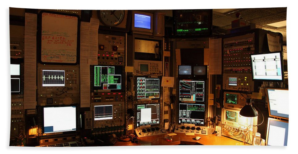 Synchrotron Hand Towel featuring the photograph Synchrotron Control Room by Ted Kinsman
