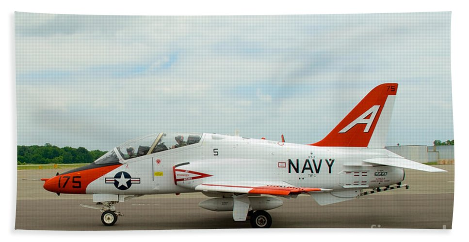 Air Show Hand Towel featuring the photograph T-45 Goeshawk 4 by Mark Dodd